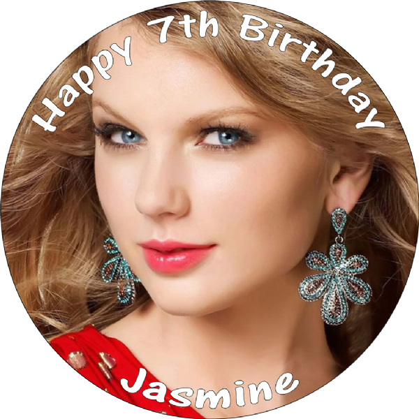 TAYLOR SWIFT EDIBLE PERSONALISED ROUND BIRTHDAY CAKE TOPPER